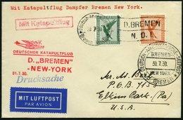 KATAPULTPOST 20b BRIEF, 31.7.1930, &quot,Bremen&quot, - New York, Seepostaufgabe, Drucksache, Prachtbrief - Briefe U. Dokumente