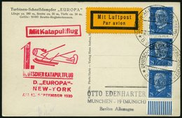 KATAPULTPOST 31b BRIEF, 15.9.1930, &quot,Europa&quot, - New York, Seepostaufgabe, Ansichtskarte Mit Der Europa, Seltene  - Briefe U. Dokumente