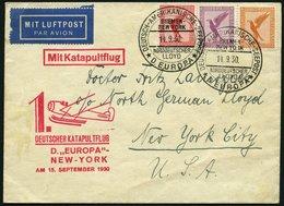KATAPULTPOST 31b BRIEF, 15.9.1930, &quot,Europa&quot, - New York, Seepostaufgabe, Prachtbrief - Briefe U. Dokumente
