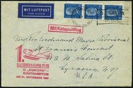 KATAPULTPOST 32c BRIEF, 22.9.1930, &quot,Europa&quot, - Southampton, Deutsche Seepostaufgabe, Brief Feinst - Briefe U. Dokumente