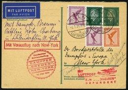 KATAPULTPOST 40c BRIEF, 10.5.1931, Bremen - New York, Nachbringe- Und Schleuderflug, Auf 8 Pf. Ebert - Ganzsachenkarte M - Briefe U. Dokumente