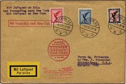 KATAPULTPOST 40c BRIEF, 10.5.1931, Bremen - New York, Nachbringe- Und Schleuderflug, Prachtbrief - Briefe U. Dokumente
