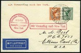 KATAPULTPOST 41b BRIEF, 16.5.1931, &quot,Europa&quot, - New York, Seepostaufgabe, Prachtbrief - Briefe U. Dokumente