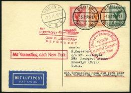KATAPULTPOST 41c BRIEF, 16.5.1931, Europa - New York, Nachbringe- Und Schleuderflug, Prachtkarte - Briefe U. Dokumente