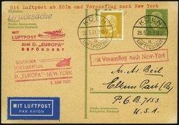 KATAPULTPOST 45c BRIEF, 2.6.1931, Europa - New York, Nachbringe- Und Schleuderflug, Auf 5 Pf. Hindenburg - Ganzsachenkar - Briefe U. Dokumente