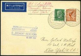 KATAPULTPOST 48b BRIEF, 12.6.1931, Bremen - New York, Seepostaufgabe, Prachtkarte - Briefe U. Dokumente