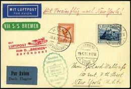 KATAPULTPOST 52Lu BRIEF, Luxemburg: 28.6.1931, Bremen - New York, Nachbringeflug Mit Zweiländerfrankatur, Prachtkarte, R - Briefe U. Dokumente