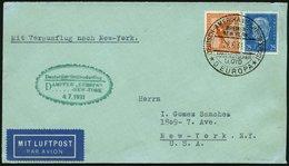 KATAPULTPOST 54b BRIEF, 4.7.1931, &quot,Europa&quot, - New York, Seepostaufgabe, Prachtbrief - Briefe U. Dokumente