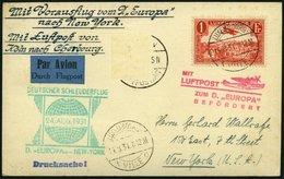 KATAPULTPOST 65Lu BRIEF, Luxemburg: 23.8.1931, Europa - New York, Nachbringeflug, Drucksache, Zweiländerfrankatur, DR-Ma - Briefe U. Dokumente