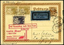 KATAPULTPOST 72Au BRIEF, Österreich: 21.9.1931, Bremen - New York, Auf 10 Gr. Ganzsachenkarte, Karte Feinst, RR!, Nur 13 - Briefe U. Dokumente