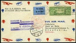 KATAPULTPOST 78a BRIEF, 16.5.1932, &quot,Europa&quot, - Southampton, US-Landpostaufgabe, Prachtbrief - Briefe U. Dokumente