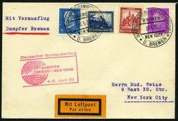 KATAPULTPOST 83b BRIEF, 5.6.1932, &quot,Bremen&quot, - New York, Seepostaufgabe, Frankiert U.a. Mit Mi.Nr. 461, Prachtbr - Briefe U. Dokumente