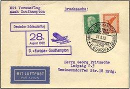 KATAPULTPOST 103c BRIEF, 28.8.1932, Europa - Southampton, Deutsche Seepostaufgabe, Drucksache, Pracht - Briefe U. Dokumente