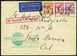 KATAPULTPOST 105b BRIEF, 6.9.1932, &quot,Europa&quot, - New York, Seepostaufgabe, Brief Feinst - Briefe U. Dokumente