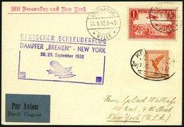 KATAPULTPOST 110Lu BRIEF, Luxemburg: 28.9.1932, Bremen - New York, Zweiländerfrankatur, Bahnpoststempel KÖLN, Prachtkart - Briefe U. Dokumente