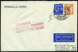 KATAPULTPOST 114a BRIEF, 13.5.1933, &quot,Bremen&quot, - Flug Ausgefallen, Frankiert Mit Mi.Nr. 381 Und 481, Prachtbrief - Briefe U. Dokumente
