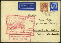 KATAPULTPOST 115c BRIEF, 18.5.1933, &quot,Europa&quot, - Southampton, Deutsche Seepostaufgabe, Frankiert Mit Mi.Nr. 381  - Briefe U. Dokumente