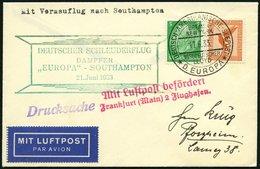 KATAPULTPOST 122c BRIEF, 21.6.1933, &quot,Europa&quot, - Southampton, Deutsche Seepostaufgabe, Drucksache, Prachtbrief - Briefe U. Dokumente