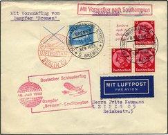 KATAPULTPOST 128c BRIEF, 16.7.1933, Bremen - Southampton, Deutsche Seepostaufgabe, Frankiert U.a. Mit S 40, Drucksache,  - Briefe U. Dokumente