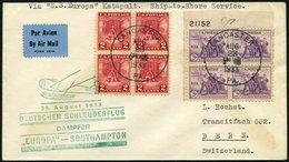 KATAPULTPOST 138a BRIEF, 28.8.1933, Europa - Southampton, US-Landpostaufgabe, Frankiert U.a. Mit Mi.Nr. 357 Im Eckrandvi - Briefe U. Dokumente