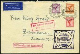 KATAPULTPOST 140c BRIEF, 5.9.1933, &quot,Bremen&quot, - Southampton, Deutsche Seepostaufgabe, Prachtbrief - Briefe U. Dokumente