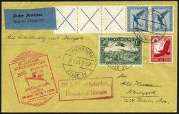 KATAPULTPOST 161Lu BRIEF, Luxemburg: 27.6.1934, Bremen - New York, Zweiländerfrankatur U.a. Mit DR Mi.Nr. W 21.3!, Prach - Briefe U. Dokumente