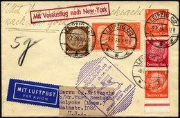 KATAPULTPOST 165a BRIEF, 15.7.1934, Bremen - New York, Landpostaufgabe, Frankiert U.a. Mit S 113, Drucksache Pracht - Briefe U. Dokumente