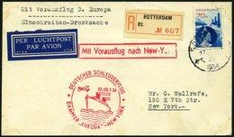 KATAPULTPOST 167Nl BRIEF, Niederlande: 22.7.1934, &quot,Europa&quot, - New York, Einschreib-Drucksache, Brief Feinst, RR - Briefe U. Dokumente