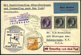 KATAPULTPOST 169Lu BRIEF, Luxemburg: 1.8.1934, Bremen - New York, Nachbringeflug, Zweiländerfrankatur, Eine Marke Etwas  - Briefe U. Dokumente