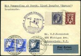 KATAPULTPOST 174Lu BRIEF, Luxemburg: 29.8.1934, Europa - New York, Zweiländerfrankatur, Drucksache, Prachtbrief, RRR!, N - Briefe U. Dokumente