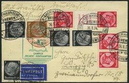 KATAPULTPOST 175c BRIEF, 30.8.1934, Bremen - Southampton, Deutsche Seepostaufgabe, Frankiert U.a. Mit S 105 Und K 18, Dr - Briefe U. Dokumente