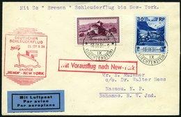 KATAPULTPOST 181Li BRIEF, Liechenstein: 26.9.1934, Bremen - New York, Prachtbrief Nach Nassau (Bahamas), RR!, Nur 17 Bel - Briefe U. Dokumente