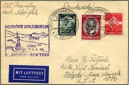 KATAPULTPOST 185b BRIEF, 9.5.1935, Bremen - New York, Seepostaufgabe, Drucksache, Pracht - Briefe U. Dokumente