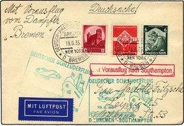 KATAPULTPOST 194c BRIEF, 19.6.1935, Bremen - Southampton, Deutsche Seepostaufgabe, Drucksache, Pracht - Briefe U. Dokumente