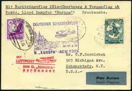 KATAPULTPOST 195Lu BRIEF, Luxemburg: 26.6.1935, Europa - New York, Nachbringeflug, Zweiländerfrankatur, Drucksache, Prac - Briefe U. Dokumente