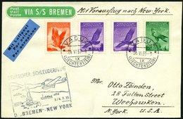 KATAPULTPOST 196Li BRIEF, Liechenstein: 3.7.1935, Bremen - New York, Prachtbrief, RRR!, Nur 7 Belege Befördert - Briefe U. Dokumente
