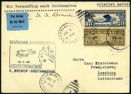 KATAPULTPOST 198a BRIEF, 10.7.1935, Bremen - Southampton, US- Landpostaufgabe, Prachtkarte - Briefe U. Dokumente