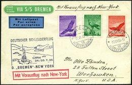 KATAPULTPOST 201Li BRIEF, Liechenstein: 24.7.1935, Bremen - New York, Prachtbrief, RR!, Nur 11 Belege Befördert! - Briefe U. Dokumente