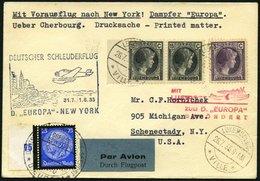 KATAPULTPOST 203Lu BRIEF, Luxemburg: 31.7.1935, Europa - New York, Nachbringeflug, Zweiländerfrankatur, Drucksache, Prac - Briefe U. Dokumente