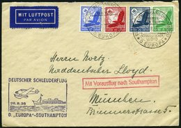 KATAPULTPOST 208c BRIEF, 28.8.1935, &quot,Europa&quot, - Southampton, Deutsche Seepostaufgabe, Prachtbrief - Briefe U. Dokumente