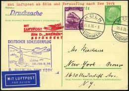 KATAPULTPOST 209c BRIEF, 29.8.1935, &quot,Bremen&quot, - New York, Nachbringe- Und Schleuderflug, Auf 5 Pf. Hindenburg - - Briefe U. Dokumente