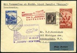 KATAPULTPOST 215Lu BRIEF, Luxemburg: 25.9.1935, Europa - Southampton, Nachbringeflug, Zweiländerfrankatur, Drucksache, P - Briefe U. Dokumente