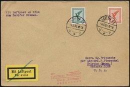 KATAPULTPOST 4.5.1931, Mit Luftpost Zum Dampfer Bremen Befördert, Luftpostdrucksache Von Leipzig In Die USA, Pracht - Briefe U. Dokumente