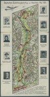 1911, Dreifach-Klappkarte Deutscher Zuverlässigkeitsflug Am Oberrhein Mai 1911, Mit 9 Portraits Der Piloten Und Strecken - Flugzeuge