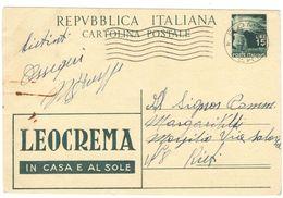 J085) ITALIA CARTOLINA POSTALE DEL 1949 VIAGGIATA - 6. 1946-.. Repubblica