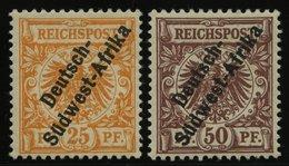 DSWA Ia,II *, 1897, 25 Pf. Gelblichorange Und 50 Pf. Lebhaftrötlichbraun, Falzrest, 2 Prachtwerte, Mi. 560.- - Kolonie: Deutsch-Südwestafrika