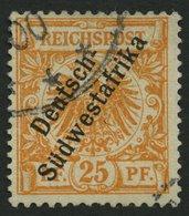 DSWA 9a O, 1899, 25 Pf. Gelblichorange, Pracht, Gepr. Pfenninger, Mi. 500.- - Kolonie: Deutsch-Südwestafrika