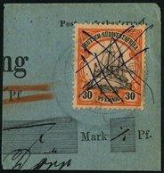 DSWA 16I BrfStk, 1901, 30 Pf. Rötlichorange/rotschwarz Auf Mattgelblichorange Mit Abart Striche Vor 3 In Der Linken 30,  - Kolonie: Deutsch-Südwestafrika