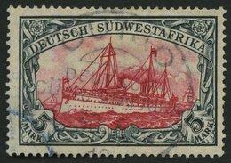 DSWA 32Aa O, 1906, 5 M. Grünschwarz/dunkelkarmin, Mit Wz., Gelblichrot Quarzend, Stempel OUTJO, üblich Gezähnt Pracht, G - Kolonie: Deutsch-Südwestafrika