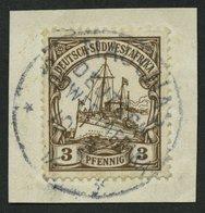 DSWA 11 BrfStk, NAUCHAS Auf 3 Pf. Dunkelockerbraun, Prachtbriefstück - Kolonie: Deutsch-Südwestafrika